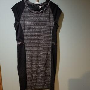 Halogen Heathered Gray Black Dress L NWT